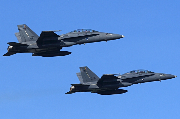 Two McDonnell Douglas F/A-18 Hornet fighter aircraft flying in formation
