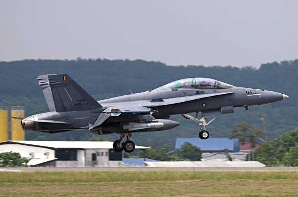 The McDonnell Douglas F/A-18 Hornet prior to toch-down